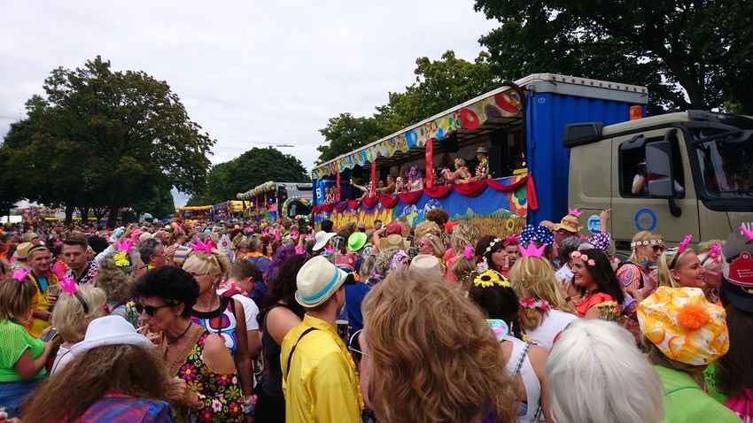 Schlagermove. Hamburg Germany Hh Schlagermove Schlager Party Festival Heiligengeistfeld People People Watching Music Costumes 70s City Life Crowd Tree Men Women Togetherness Multi Colored Arts Culture And Entertainment Sky