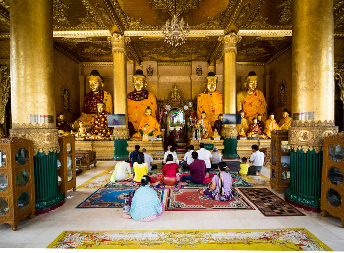 """""""We are shaped by our thoughts; we become what we think. When the mind is pure, joy follows like a shadow that never leaves."""" Buddha ASIA Buddha Gold Pagoda Rangoon Yangon Architecture Buddha Statue Buddhism Built Structure Burma Canon Day Gold Colored Myanmar People And Places Praying Religion Shwedagon Spirituality Temple Wide Angle"""
