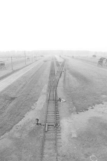 Black & White Railway Track Train Tracks Vanishing Point World War 2 WWII