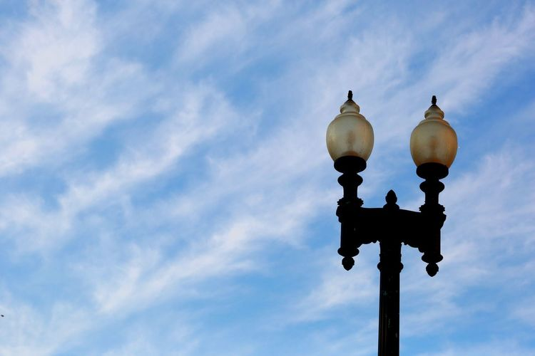 EyeEm Selects Low Angle View Cloud - Sky Sky Lighting Equipment No People Outdoors Day Architecture Washington, D. C. JGLowe Street Light Built Structure Vintage Lights Clouds Clouds And Sky