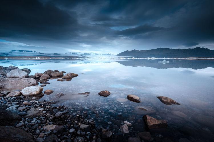 Beauty In Nature Cloud - Sky Fire Horizon Ice Iceberg Iceland Idyllic Landscape Nature Roadtrip Scenics Sky The Great Outdoors - 2016 EyeEm Awards Tranquility Water
