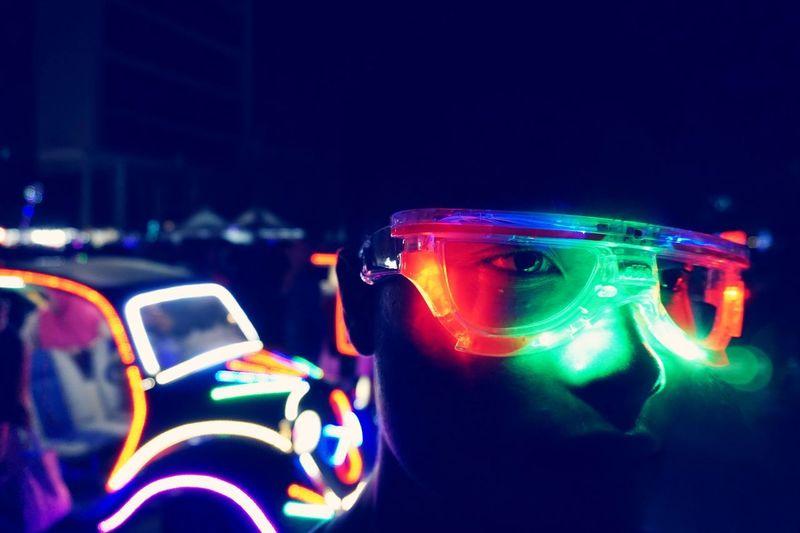 Digital lights brings the mood of hip hop culture. Digital Light Night Illuminated Close-up Focus On Foreground Lighting Equipment Car Blue Technology Light Glowing City My Best Photo