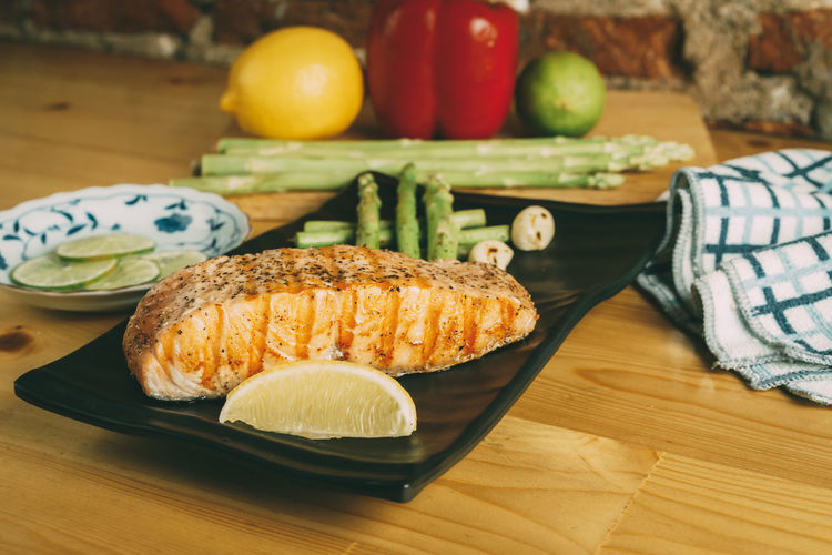 Blackandwhite Fillet Food Freshness Grilled Healthy Lifestyle Lemon Meal Plate Salmon Table Wooden