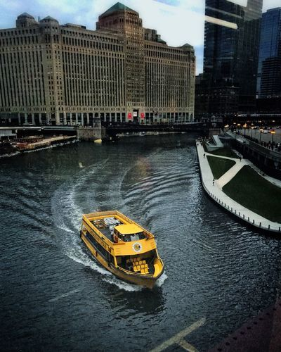 Through the window this morning Chicago River Chicago River CTA Boat