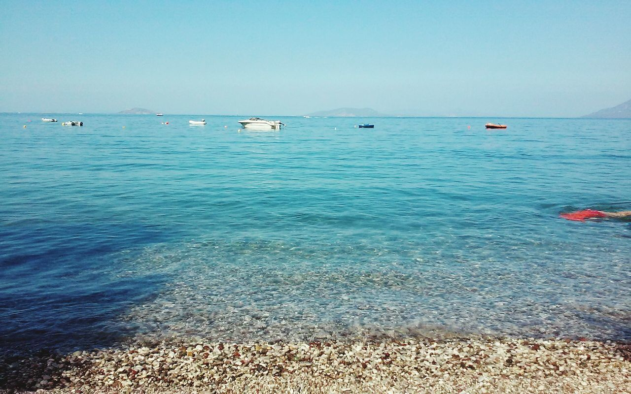 Scenic View Of Blue Sea Against Clear Sky On Sunny Day