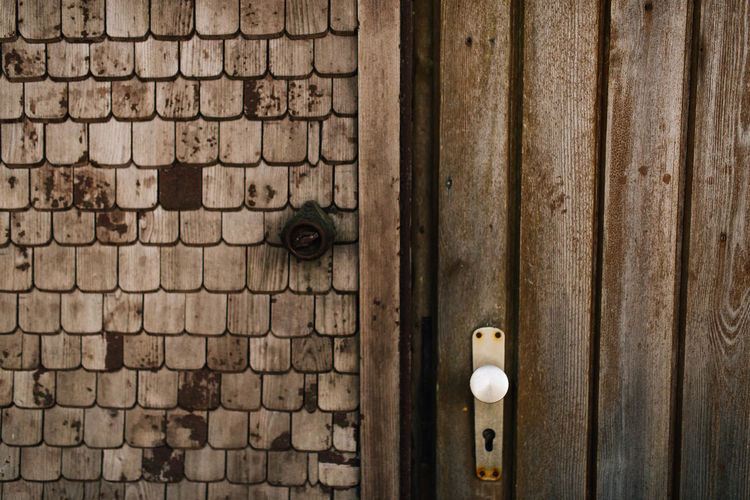 old wooden cottage in the swabian alps Architecture Brick Brick Wall Close-up Closed Cottage Cottage Door Country Style Day Door Entrance German House Keyhole Latch Lock Metal No People Old Protection Safety Swabian Alb Wall Wood - Material Wooden Door Wooden Doors