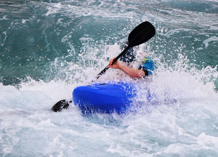 Sport Motion Adventure One Person Oar Kayak One Man Only Extreme Sports Leisure Activity Rapid Skill  Wave Water Aquatic Sport Exercising White Water White Water Rapids  Canoing Canoeing Canoe Canoe Paddling White Water Canoeing White Water Kayaker White Water Slalom Action Shot