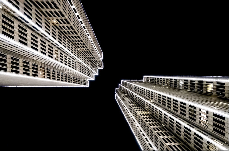 twin towers Architecture Black Background Building Exterior Built Structure City Clear Sky Illuminated Low Angle View Modern Night No People Outdoors Sky Skyscraper Travel Destinations
