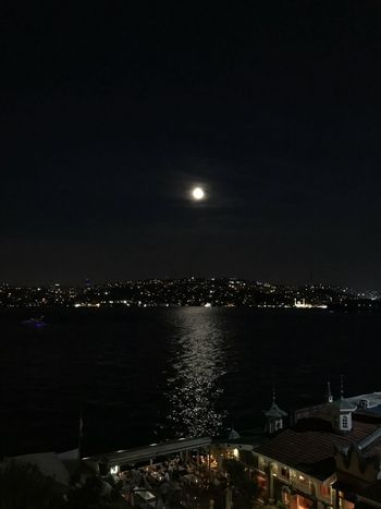 At night, where the moon dances with the on iPhone 7 Plus. Turkey ShotOnIphone Night Sky Water Moonlight Full Moon Moon Sea