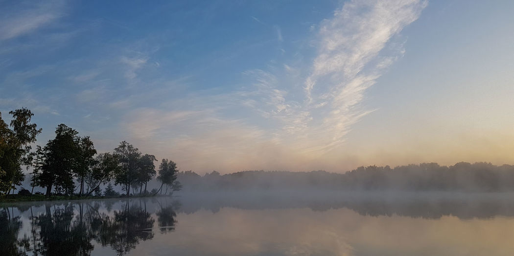 Morning Morning Light Morning Sky Beauty In Nature Early Morning Idyllic Lake Mist Mist On Water Nature No People Outdoors Reflection Sky Slėnis Summer Trakai Tranquility Tree Vapor Trail Water