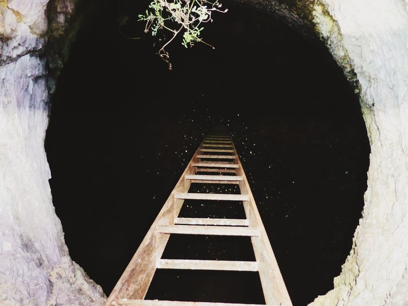 Tunnel Ladder Cave Wishing Well No People Coins Money $ Circle