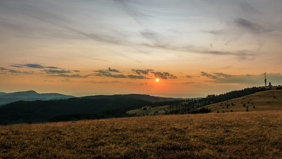 Sonnenuntergang auf dem Feldberg, fotografiert im August 2017 Beauty In Nature Field Grass Landscape Nature No People Orange Color Outdoors Scenics Sky Sun Sunset Tranquil Scene Tranquility
