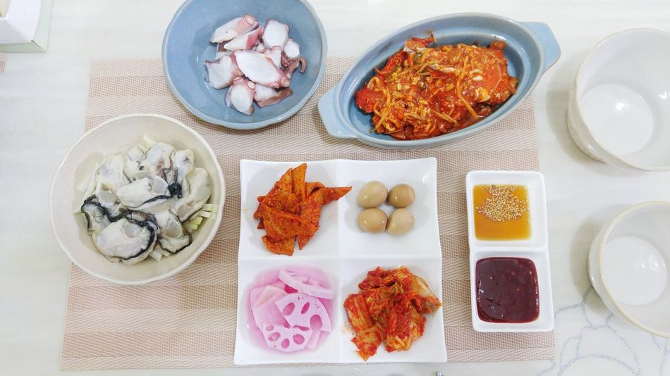 Food Food And Drink Variation Healthy Eating Table High Angle View No People Neat Freshness Dried Fruit Indoors  Egg Yolk Day Korean Food Oyster  Oyster Time Octopus