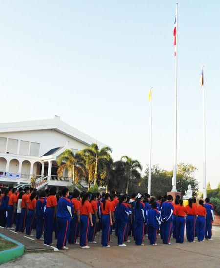 Student Student Uniform Blue Sky Clear Sky Flag Large Group Of People Outdoors People School Sky Tree