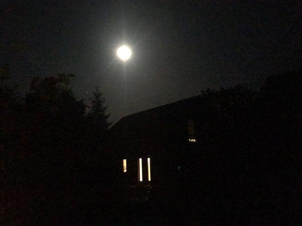 Haus House Night Moon Illuminated Sky Full Moon Moonlight Dark No People