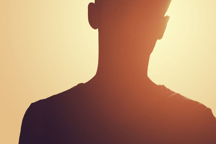 Close-Up Of Silhouette Man Against Sky During Sunset
