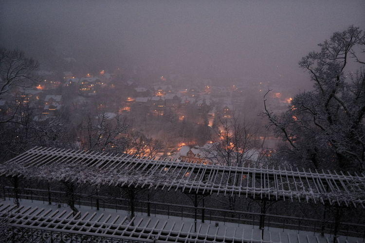 High angle view of plants and buildings against sky during winter