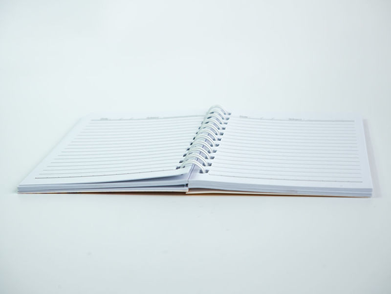 Blank Book Close-up Day Education No People Note Pad Open Page Paper Studio Shot White Background