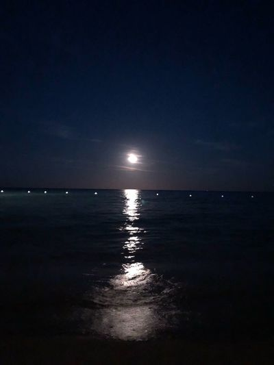 Moon Nofilter Sea Water Sky Horizon Over Water Horizon Scenics - Nature Beauty In Nature Tranquility Reflection Night Seascape