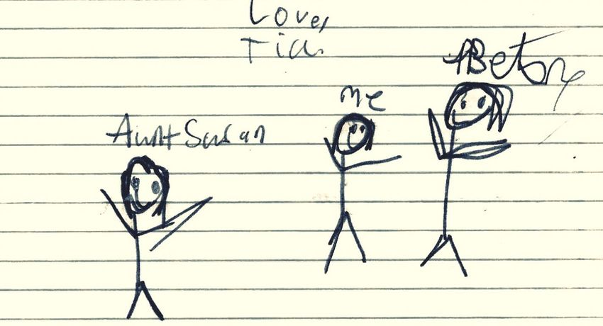 Drawing Family Sisters Stickfigures my nieces interpretation of our relationship