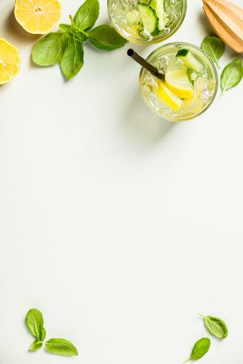 Directly Above Shot Of Lemonade On White Background