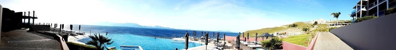 Samsung Galaxy S7 Edge Foto Greece Style Relaxation Luxury Sunlight Swimming Pool Sun Beauty In Nature Horizon Over Water Blue Vacations Nature Outdoors Day Sky Water Sea