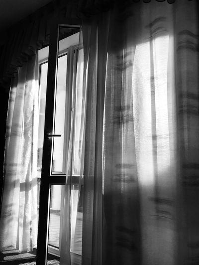 Black and white room window in the morning light Indoors  Curtain Window Day No People Glass - Material Architecture Built Structure Home Interior Textile Hanging House Nature Transparent Sunlight Building Reflection Safety Streaming Security