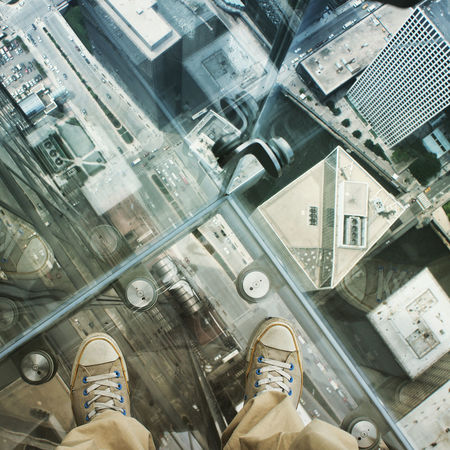 Chi-Town Chicago City Life Converse Converse All Star Directly Above Fear Of Heights Feet Glass - Material Height High High Angle View Indoors  Looking Down Perspective Perspectives And Dimensions Point Of View Relative Sears Tower Small Street Traffic Vertigo View From Above Viewpoint