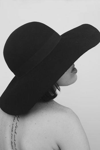 One Person Studio Shot Human Body Part Body Part Close-up Females Women Portrait Model Blackandwhite Black And White Hat