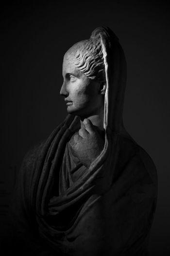 Antique Rome Woman Antiquity Black Background Blackandwhite Centralemontemartini Close-up Indoors  Italy Museum Roman Sculpture Statue