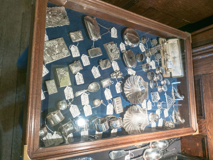 Silver Match Case Antique Close-up Day Indoors  Large Group Of Objects No People Shelf Silver Match Boxes