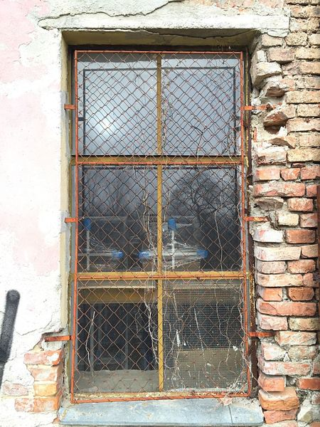 Window Mesh Protective Frame Brick Wall Abandoned Decay Yellow Wall Glass Reflection