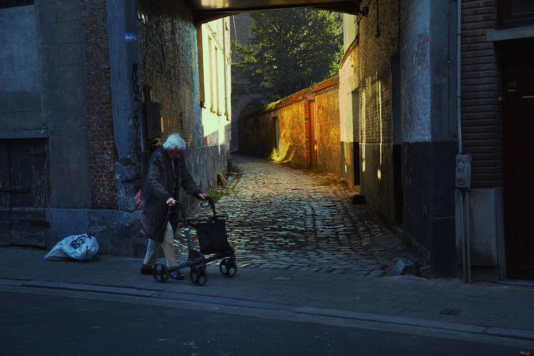 Real People Walking City Street Footpath Lifestyles Handicap Antwerp, Belgium Antwerpen Streetwise Photography