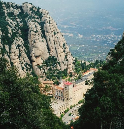 High angle view of buildings by montserrat