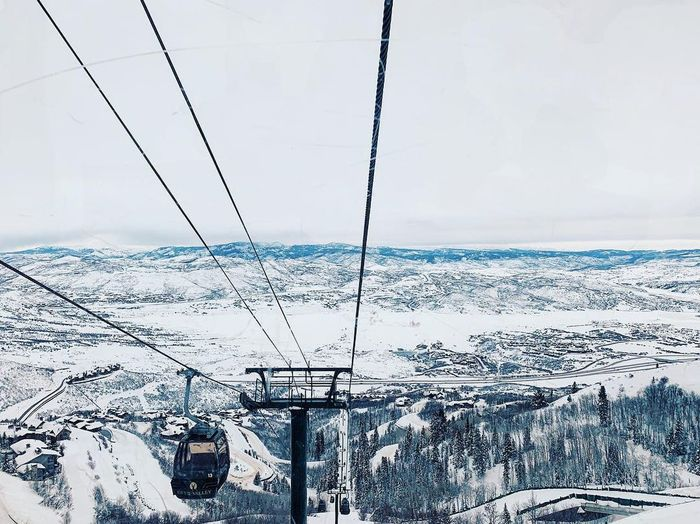 the jordanelle express gondola 🚠 Wasatch Mountains Wasatch Back Deer Valley Resorts Utah Cold Temperature Winter Snow Sky Nature Day Transportation