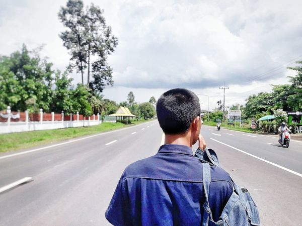 Road Rear View The Way Forward Adult Only Men Transportation Day Adults Only One Man Only People Tree One Person Men Real People Young Adult Outdoors Sky
