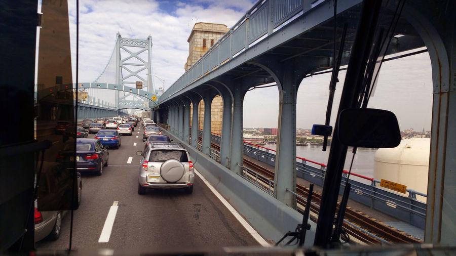 Traffic on bridge in city