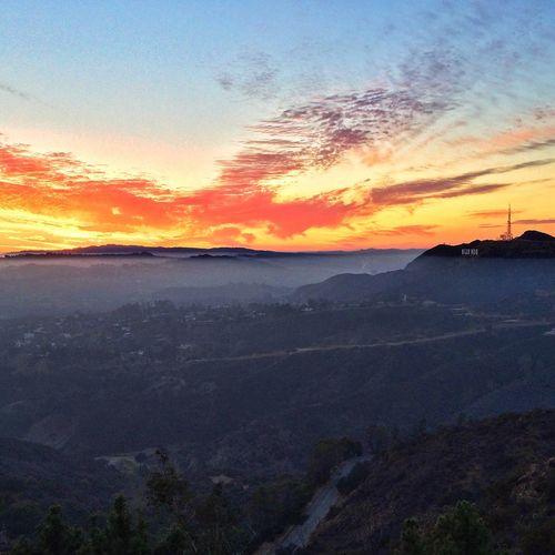 Hollywood Sign Beautiful Smog Sunset California