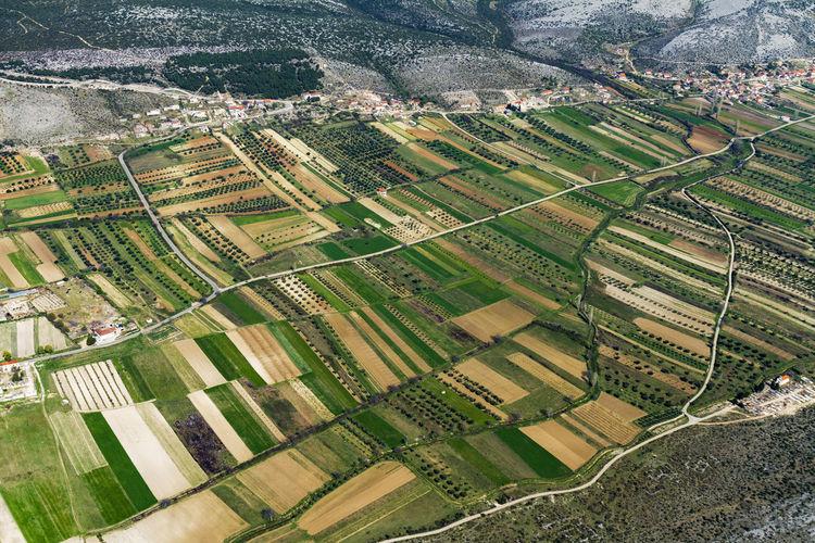 Aerial view of fertile fields in zadar region near adriatic coast
