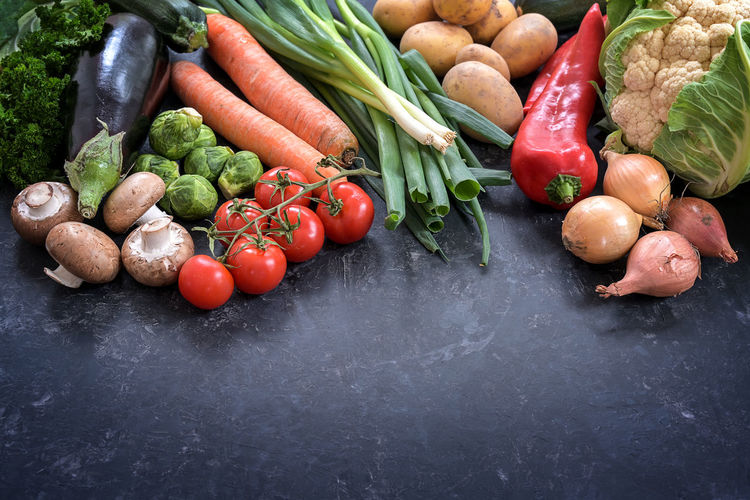 High angle view of fresh vegetables