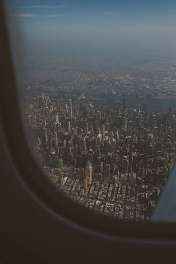 Aerial view of cityscape seen from airplane