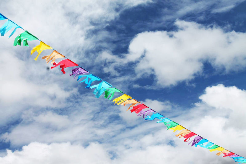 Banderines Banderitas Bunting Cielo Cloud - Sky Day Flag In A Row Low Angle View Multi Colored No People Outdoors Sky Wind
