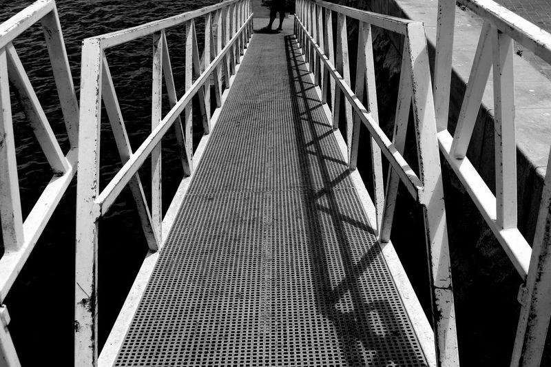 As I Sees It Black And White Blackandwhite Bridge Bridge - Man Made Structure Connection Exceptional Photographs EyeEm Best Shots EyeEm Best Shots - Black + White EyeEm Nature Lover EyeEmBestPics From My Point Of View Going Down Metal Metallic Monochrome Monochrome Photography Outdoors Personal Perspective Perspective Protection Shadow The Way Forward Vanishing Point Water