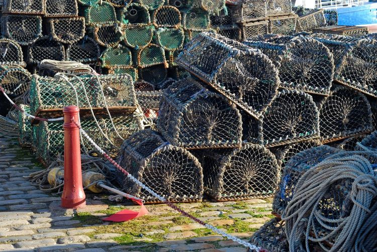 Creel Creel Nets Fishing Equipment Arrangement Creels Day Fishing Fishing Net Lobster Pots No People Outdoors Stack