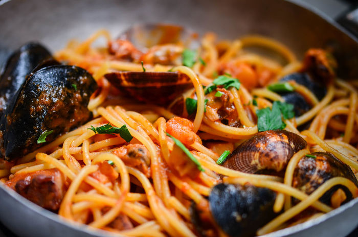 Cuisine Garlic Italian Pasta Salt Seafood Spaghetti Spaghetti Seafood Close-up Food Food And Drink Fresh Pasta Freshness Healthy Eating Indoors  Italian Food Mediteranean Dish No People Octopus Olive Oil Parsley Pasta Pasta Time Prawns Sea Food Restaurant Spaghetti Dish First Eyeem Photo
