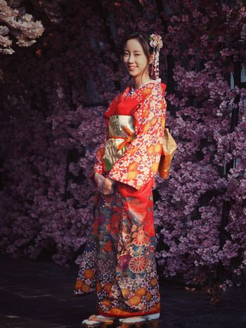 woman in kimono dress with cherry blossom Kimono Woman In Kimono Cherry Blossoms Spring Flowers Japanese Culture Japanese Style Young Adult Adult Full Length Beautiful Woman Young Women Beautiful People Only Women One Young Woman Only Traditional Clothing Portrait Beauty Smiling One Person Females Looking At Camera One Woman Only