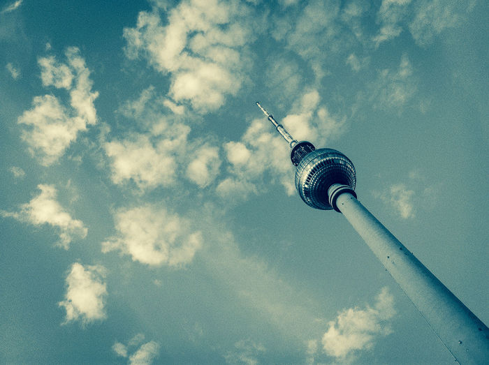 TV Tower against clouds Berlin, Germany  Blueish Cloud Communication Tower Landmark Low Angle View Outdoors Sky Technology TV Tower