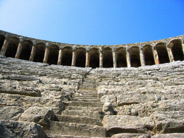 Ancient Ancient Civilization Arch Architectural Column Architecture Aspendos  Blue Built Structure Day Low Angle View No People Outdoors Roman Theater Sky Stone Material Turkey