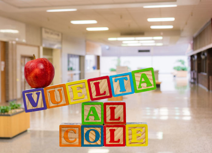 Back to School or Vuelta al Cole spelled out in Spanish in wooden blocks with red apple and copy space Apple Cole Copy Space Entrance Lunch Snack Spanish Vuelta Back To School Corridor Education Fruit Hispanic Hispanic Culture Mexican No People Nobody School School Building Spanish Culture Studio Shot Toy Block Wooden Block