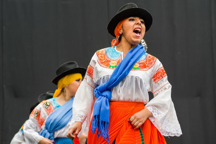Festive Ecuador Front View Well Dressed Young Women Traditional Clothing Dancers Dancefest Westerlo Well-dressed Happiness Smiling Casual Clothing